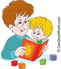 czytanie, ojciec, syn