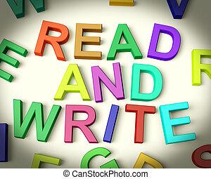 czytay i piszą, pisemny, w, wielobarwny, plastyk, dzieciaki,...