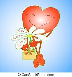 dá, Coração, flor, vermelho, sorrisos