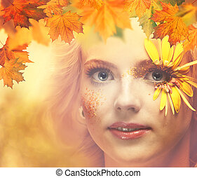 dáma, autumn., sezónní, samičí, portrét, jako, tvůj, design