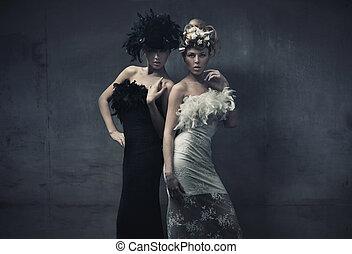 dámy, móda, umění, fotografie, dva, drobný