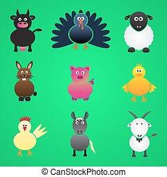 dát, živočichy, barvitý, Ikona, farma, jednoduchý,  eps10