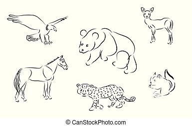 dát, živočichy, ilustrace, vektor, čerň, neposkvrněný