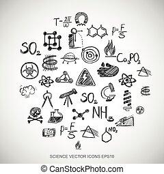 dát,  eps10, ilustrace, Ikona, věda, rukopis, vektor, čerň, Neposkvrněný,  doodles, nahý