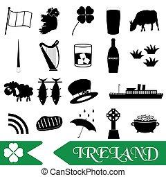 dát,  eps10, Nárys, Ikona, Země, Symbol, námět, irsko