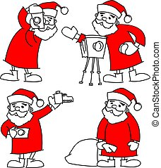 dát, fotograf, claus, ilustrace, vektor, santa, kamera, vánoce