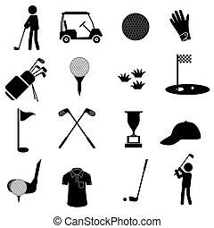 dát, golf, ikona, jednoduchý, čerň, eps10, sport