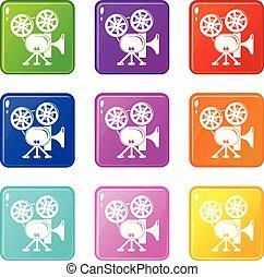 dát, ikona, barva, vybírání, kamera, video, 9