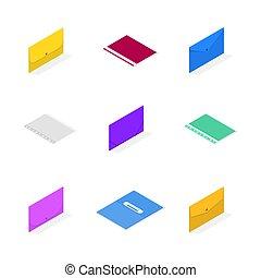 dát, illustration., výtvarný, skládačka, vektor, pořadač, 3