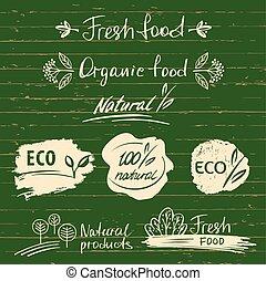dát, logos, opatřit nápisem, s, blbeček, nedávno food, skica, designs.organic