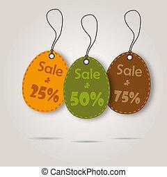 dát, nakupování, opatřit poutkem, tři, vektor, velikonoční, den, oslava