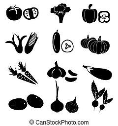 dát, o, čerň, jednoduchý, zelenina, ikona, eps10