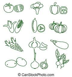 dát, o, čerň, rozmanitý, zelenina, nárys, ikona, eps10