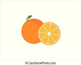 dát, o, čerstvý, zralý, napolo, pomeranč