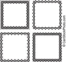 dát, o, 4, ozdobený, čerň, čtverec, nastrojit co na koho