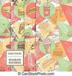 dát, o, 8, hustě food, seamless, patterns.