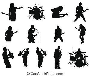 dát, o, balvan, a, džez, silhouettes