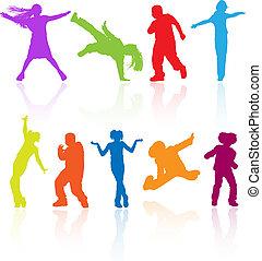 dát, o, barevný, tančení, skákání, a, klást, teenagers, vektor, silhouettes, s, hanlivý výrok.