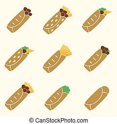 dát, o, barva, tortilla, food ikona, dát, eps10