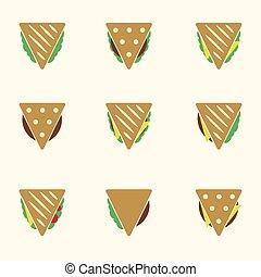 dát, o, barva, tortilla, nebo, sendvič, tacos, food ikona, dát, eps10