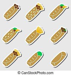 dát, o, barva, tortilla, strava, prasečkář, dát, eps10