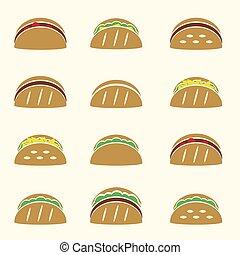 dát, o, barva, tortilla, tacos, food ikona, dát, eps10