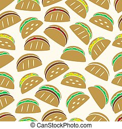 dát, o, barva, tortilla, tacos, food ikona, seamless, model, eps10