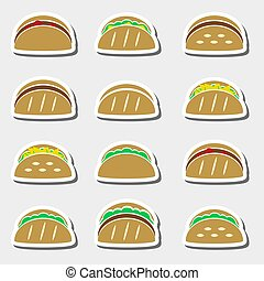 dát, o, barva, tortilla, tacos, strava, prasečkář, dát, eps10