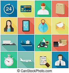 dát, o, byt, barva, ikona, s, dlouho, shadows., pojem, jako, dodávka, service.