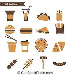 dát, o, hustě food, icons.