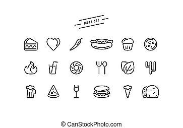 dát, o, hustě food, ikona, do, prázdný zaměstnání, móda