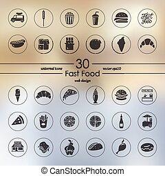 dát, o, hustě food, ikona