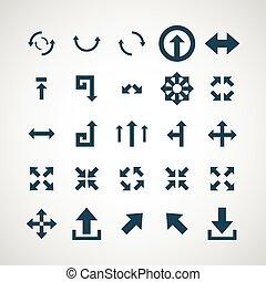dát, o, jednoduchý, vektor, ikona, šípi
