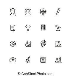 dát, o, nárys, jednoduchý, vektor, nakreslit umění, ikona, dále, ta, námět, o, školství