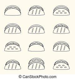 dát, o, nárys, tortilla, tacos, food ikona, dát, eps10