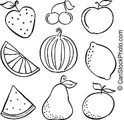 dát, o, ovoce, čerstvý, doodles
