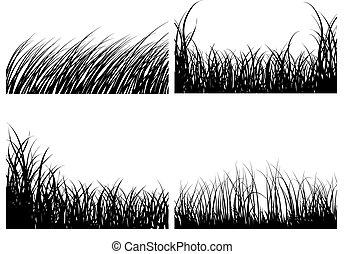 dát, o, pastvina, silhouettes