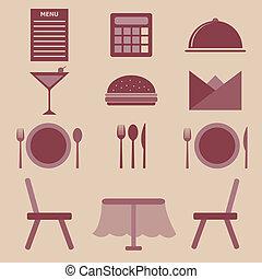 dát, o, restaurace, barva, ikona