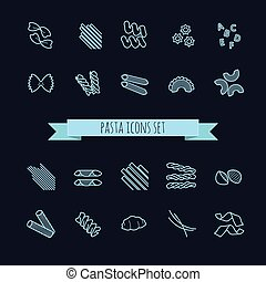 dát, o, rozmanitý, pasta, ikona