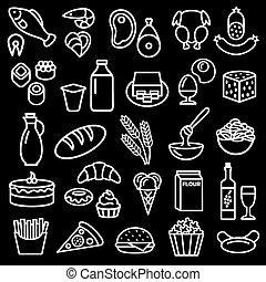 dát, o, strava, nárys, ikona