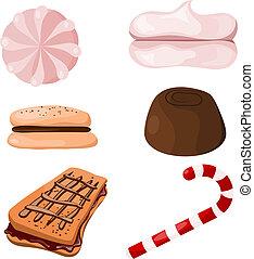 dát, o, sweets., cartoon., eps10