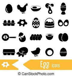 dát, o, vejce, námět, čerň, ikona, eps10