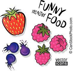 dát, o, vektor, food ikona