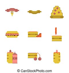 dát, pixel, ikona, o, hustě food