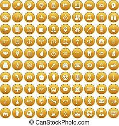 dát, povolání, zlatý, ikona, 100, den