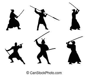 dát, silueta, samuraj, válečníci, grafické pozadí., neposkvrněný