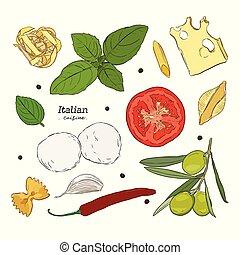 dát, strava., cuisine., osvětlení, nahý, rukopis, italský
