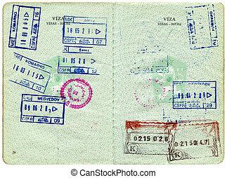 dávný, čech, vízum, terce, stránka, cestovní pas