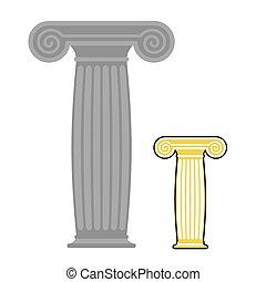 dávný, řečtina, column., vektor, illustration., starobylý, kámen, silný, místo