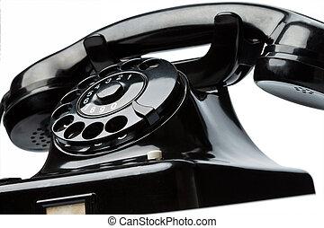 dávný, antický, telefon, telefonovat., za, pevný